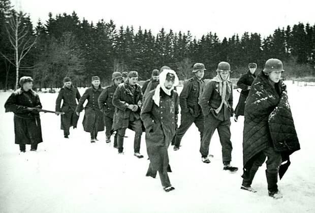 Группа немецких солдат, захваченных в плен во время битвы под Москвой. Зима 1941 -1942 гг. Великая Отечественная война, Советский народ, история