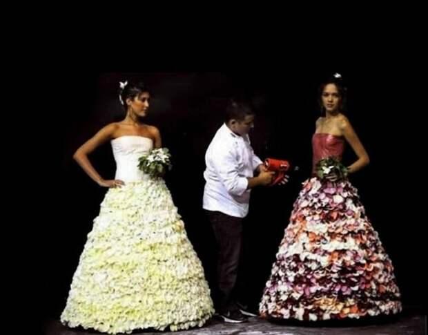 Съедобное свадебное платье из засахаренных лепестков