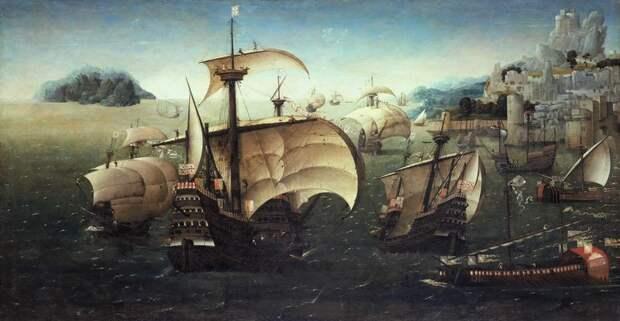Португальские каракки у скалистого берега на картине, написанной около 1540 года. Также показаны каравеллы и галеры в португальских цветах - Диу: недружественный визит | Warspot.ru