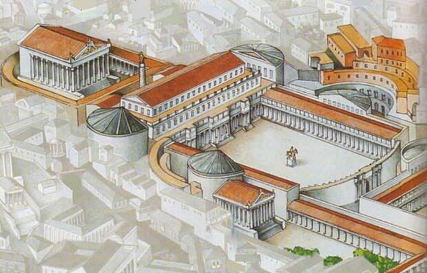 Форум Траяна, частью архитектурного ансамбля которого была Колонна. Её высота позволяла монументу оставаться высотной доминантой Форума и просматриваться из-за заслонявшей её массивной базилики Ульпия. Позади Колонны — храм Траяна - Колонна Траяна   Warspot.ru