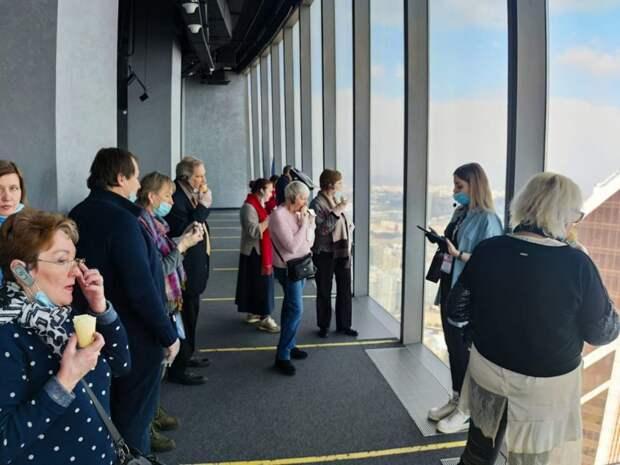 Участники «Московского долголетия» ЦСО «Сокол» посетили смотровую площадку «Панорама 360»