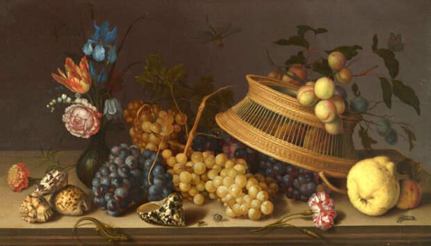 Натюрморт с цветами, фруктами, раковинами и насекомыми, Бальтазар ван дер Аст, 1629 год. \ Фото: google.com.