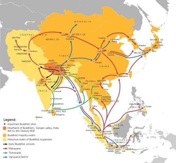 Начиная с VI века до н.э. буддизм приобретал все больше последователей, на время вытеснив индуизм на индийском субконтиненте. А уже в VI веке н.э. укрепление буддийского учения в Японии шло параллельно его упадку на родине.