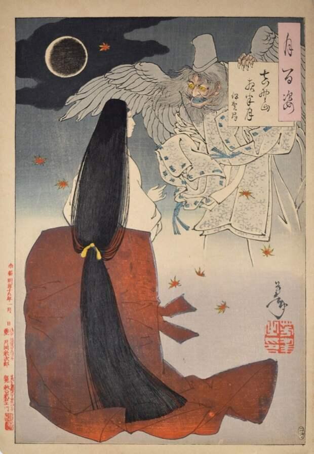Серия гравюр «100 видов луны» в традиционном японском стиле укиё-э