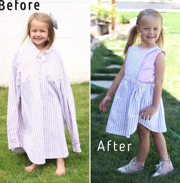Гениальная мама делает классную одежду для своей дочки из старых папиных рубашек.