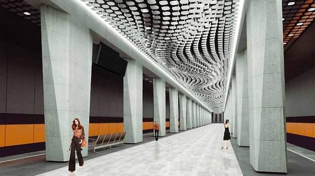 На станции «Воронцовская» Большой кольцевой линии заканчивают монтаж подвесного потолка
