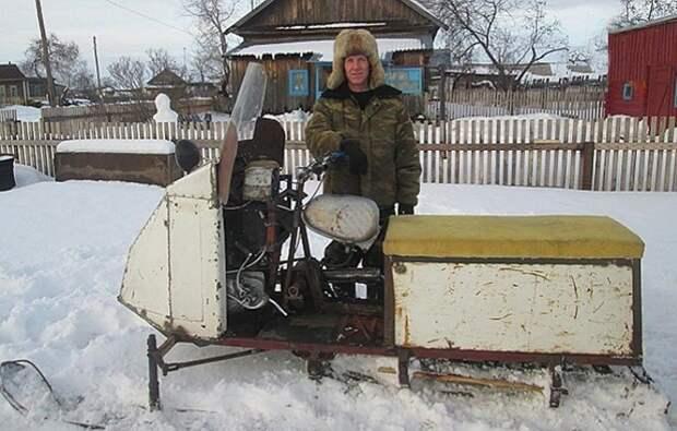 7. Житель Алтая собрал снегохода. Транспорт развивает скорость до 30 км/ч Фабрика идей, дизайн, интересно, места для хранения, полезно, фото