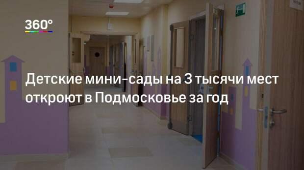Детские мини-сады на 3 тысячи мест откроют в Подмосковье за год
