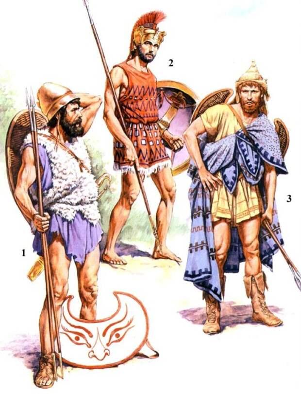 1 - греческий пельтаст (V-IV вв. до н.э.); 2 - афинский экдромой (середина V в. до н.э.); 3 - фракийский пельтаст (V в. до н.э.).