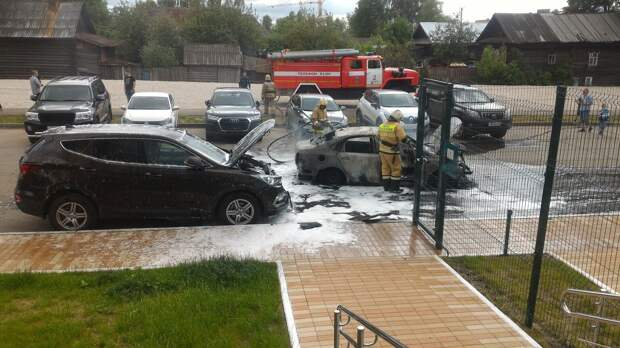 Машина сгорела на улице Вадима Сивкова в Ижевске