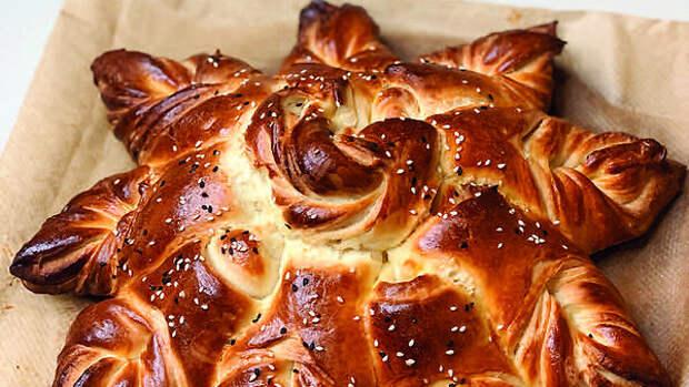 Пирог «Звезда» из дрожжевого теста на молоке: пошаговый рецепт
