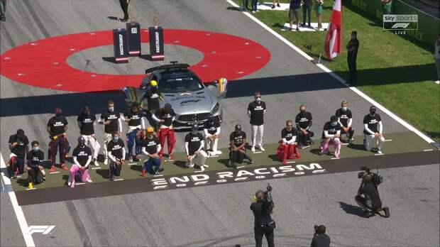 Шестеро гонщиков не встали на колено перед стартом «Формулы-1» в Австрии
