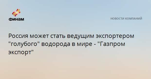 """Россия может стать ведущим экспортером """"голубого"""" водорода в мире - """"Газпром экспорт"""""""