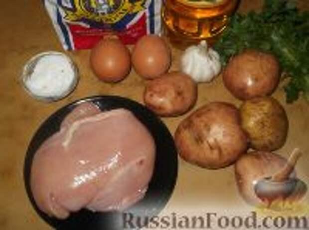 Фото приготовления рецепта: Картофельно-куриные оладьи - шаг №1