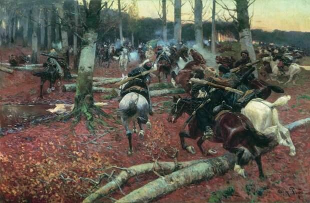 Кавказская разведка. Художник Франц Рубо (1856 – 1928)