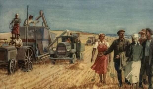 Картинка, правда, агитационная, но она верно отображает суть реформы на селе. Единоличник никогда в жизни не осилил бы такой обширный автопарк
