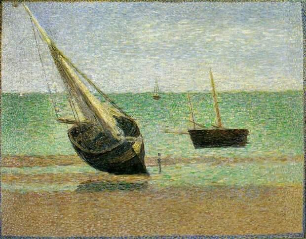 Seurat Boats, Low Tide, Grandcamp. Сера, Жорж