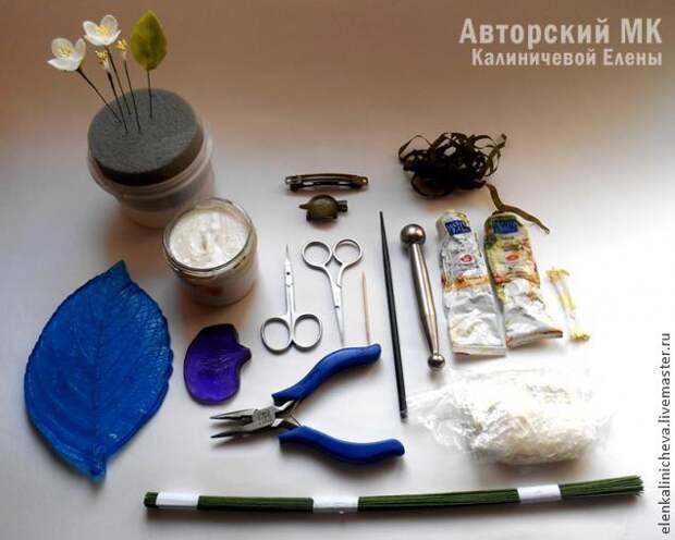 Веточка жасмина из холодного фарфора