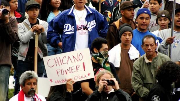 Митингующие в США с плакатом «Власть чикано!»