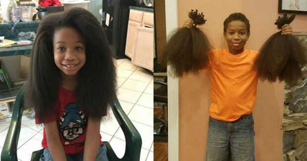 8-летний мальчик 2 года отращивал волосы, чтобы сделать парики для больных раком детей