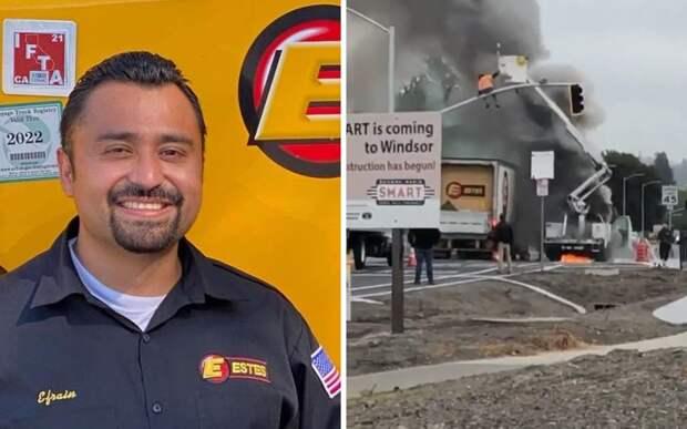 Водитель грузовика спас попавшего в ловушку рабочего за минуту до взрыва