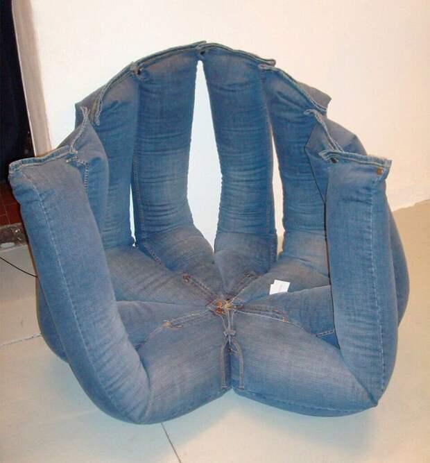 12. Кресло из джинсов вещь, креатив, подборка, самоделки, своими руками, сделай сам, фото