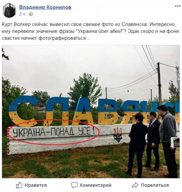«Эдак скоро на фоне свастик начнет фотографироваться»: эксперт прокомментировал конфуз Волкера на Донбассе