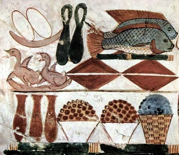 Древние изображения также свидетельствуют о том, что однообразным рацион египтян не был