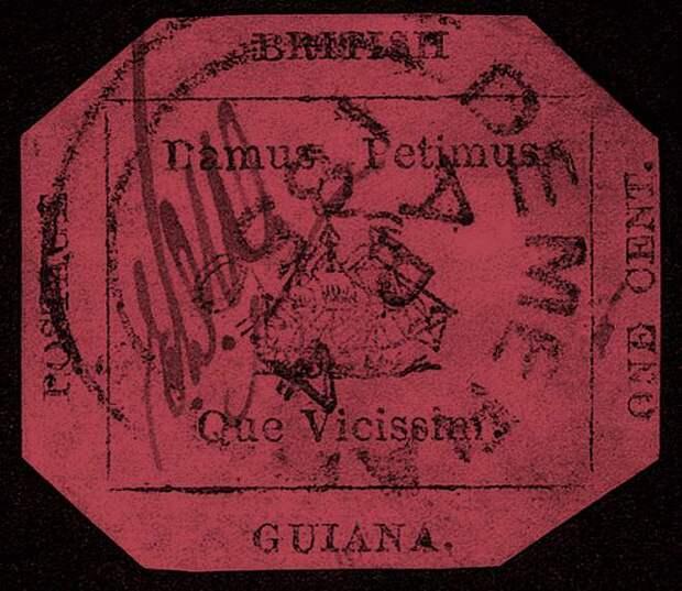 British Guiana One Cent Black on Magenta