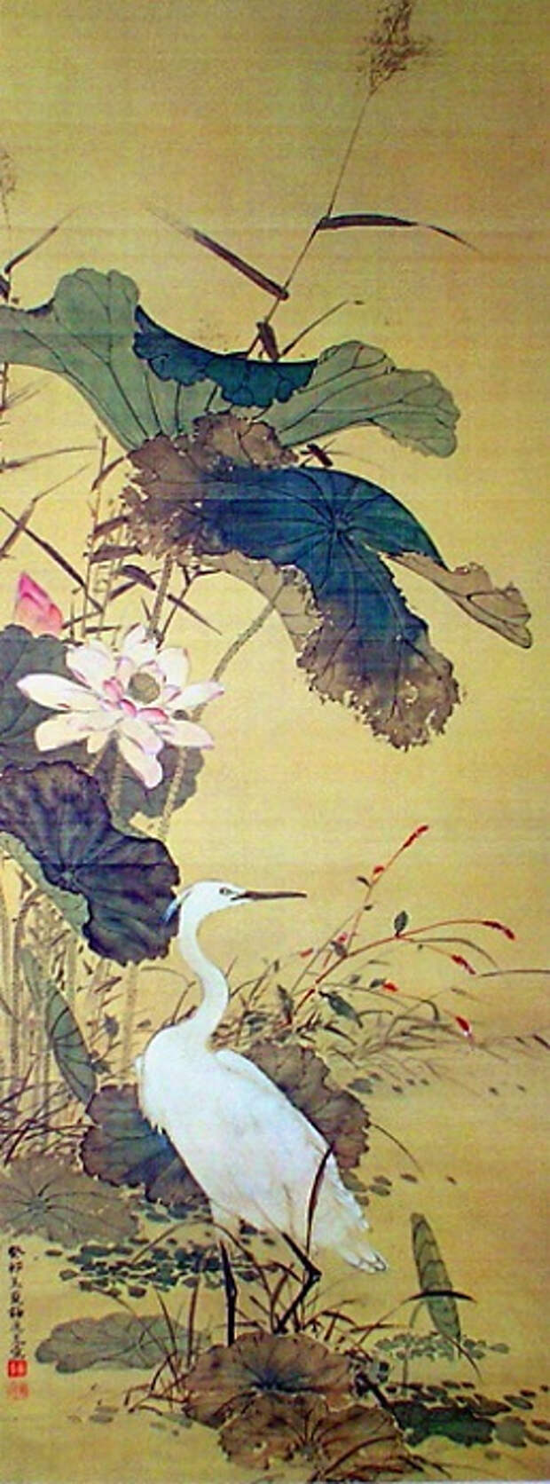 Heron And Lotus (258x696, 262Kb)