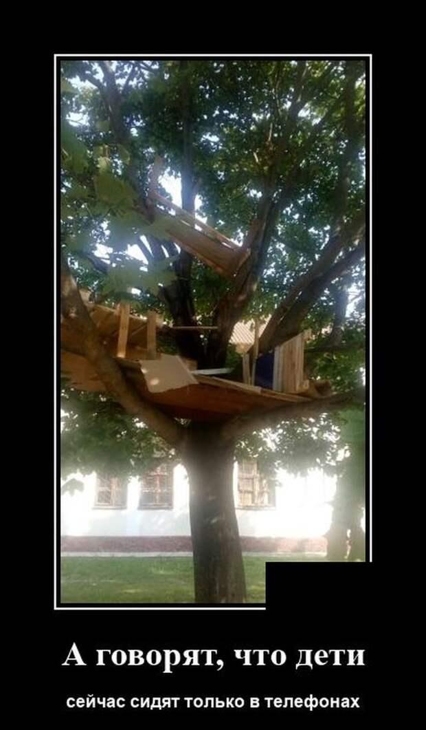 Демотиватор про домик на дереве