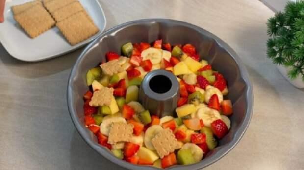 Легкий, нежный фруктовый десерт без выпечки и желатина