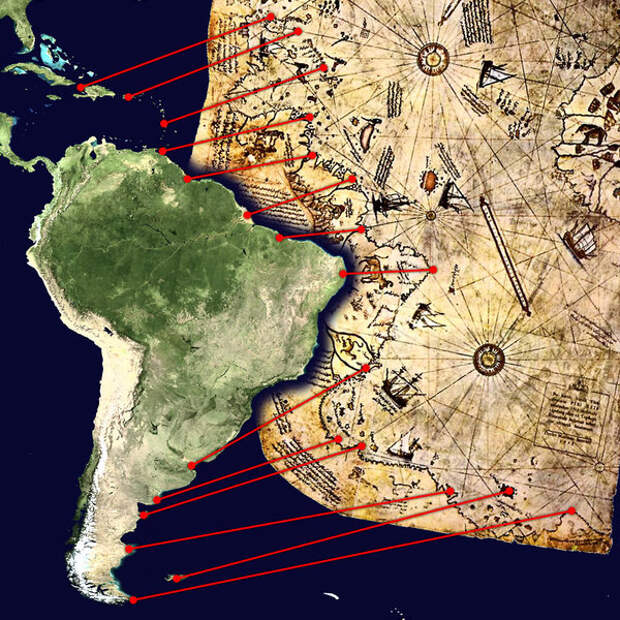 Сравните береговую линию Южной америки - удивительная точность!