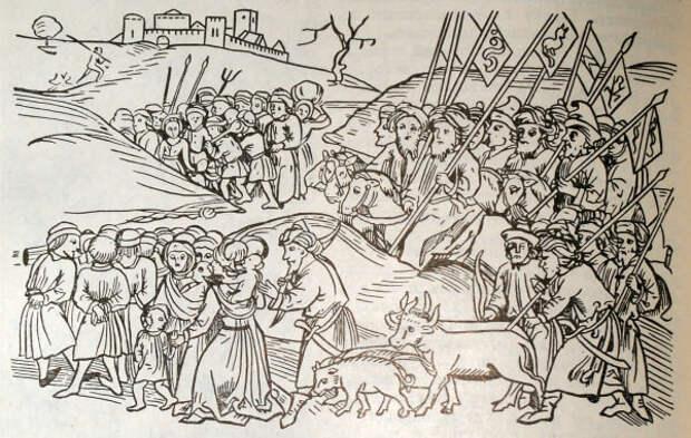 Монголы угоняют полон.Венгерская миниатюра.Европейцев хорошо видно,они без штанов,в чулках.А чем монголы отличаются от казаков? история, монголы