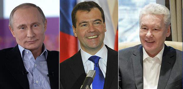 Владимир Путин, Дмитрий Медведев, Сергей Собянин. Фото: kremlin.ru, GLOBAL LOOK press, mos.ru