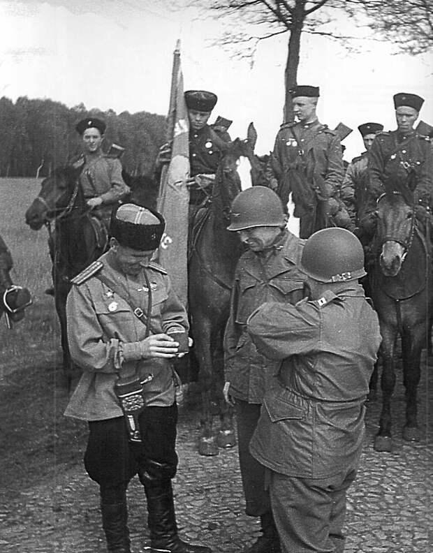 Казаки 3-го гвардейского кавалерийского корпуса на встрече с американскими офицерами в Германии СССР, война, история
