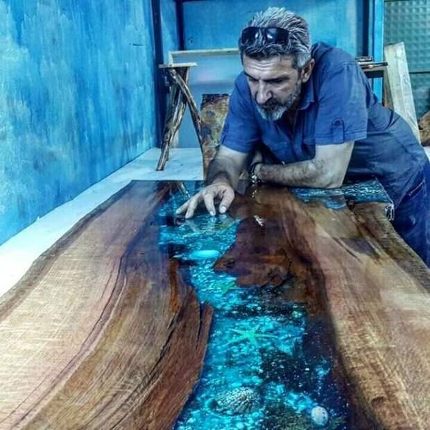 DIY: столики из дерева и эпоксидки