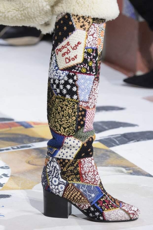 Сапоги в стиле пэчворк из коллекции Dior