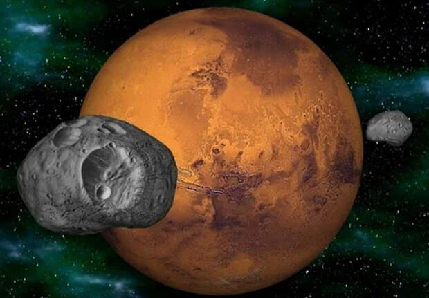 На древнем свитке оказалась карта Марса со спутником.