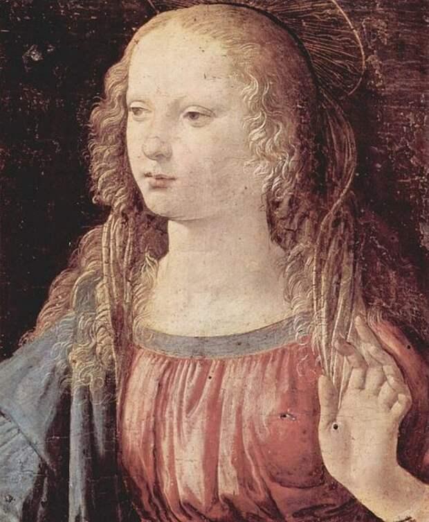 Часть картины «Благовещение» Леонардо да Винчи с изображением белокурой Девы Марии (примерно 1472-1475)