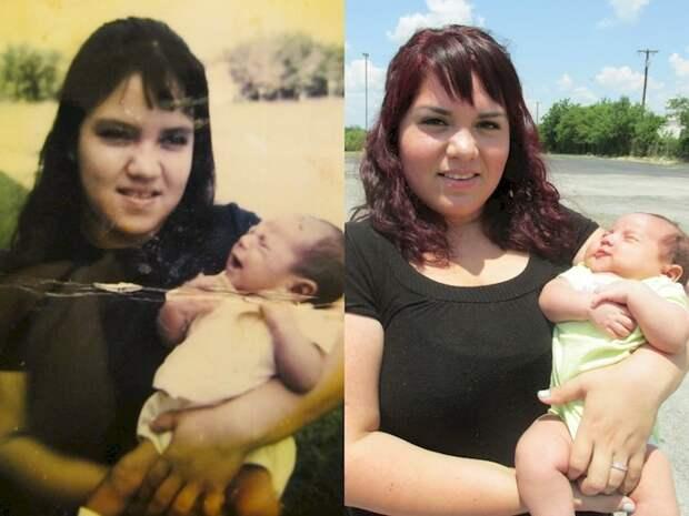 21. Мать (слева) и ее дочь 41 год спустя (справа). отцы и дети, прикол, фото