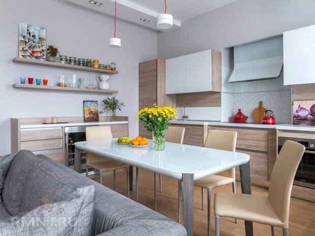 Как спрятать кухню, соединённую с гостиной