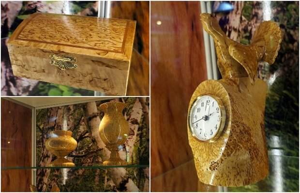 Изделия из карельской березы. Музей заповедника «Кивач»