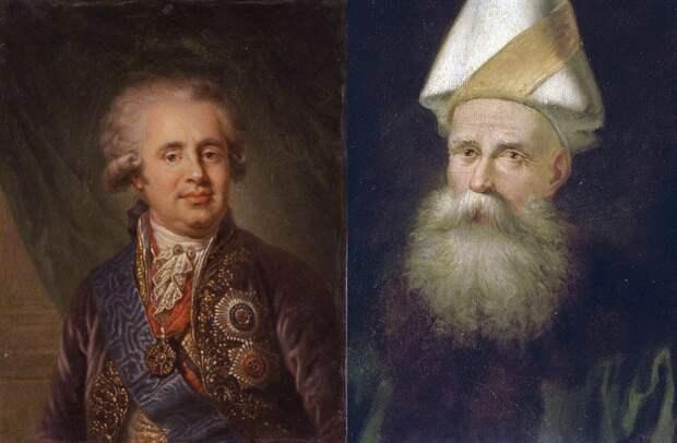 Главы делегаций на Ясских переговорах граф А.А. Безбородко и великий визирь Коджа Юсуф-паша
