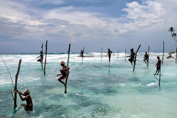 Рыбаки в Ахангаме, Шри-Ланка красота, путешествия, фото
