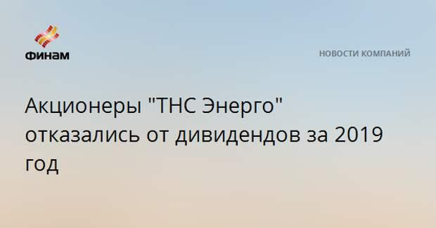 "Акционеры ""ТНС Энерго"" отказались от дивидендов за 2019 год"