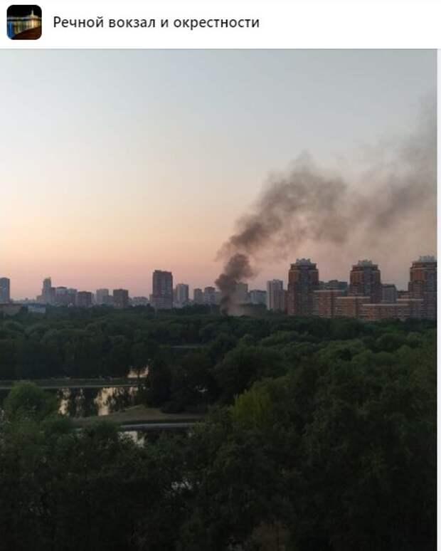 Фото дня: столб дыма от пожара на Лавочкина