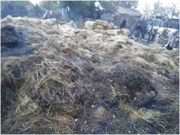 В н.п. Зимовники сгорело 8 тонн сена