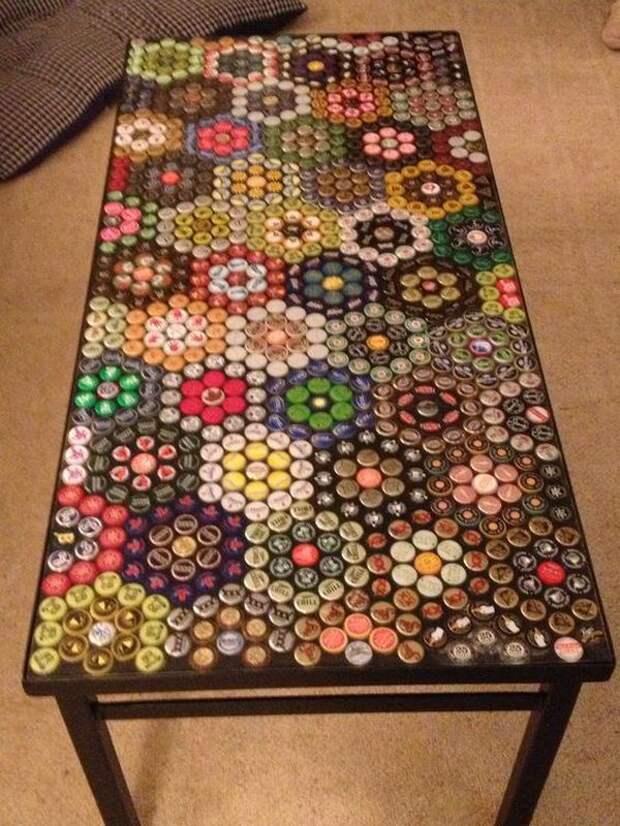 Пивные крышки в мебели (подборка)