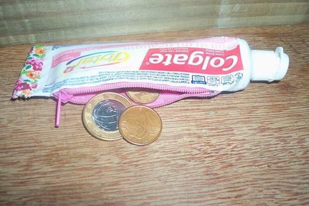 18. Монетница из тюбика от зубной пасты вещь, креатив, подборка, самоделки, своими руками, сделай сам, фото